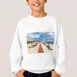 Beach umbrellas and loungers at greek sea sweatshirt