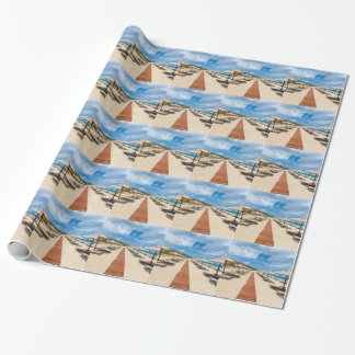 Beach umbrellas and loungers at greek sea wrapping paper