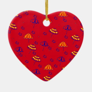 Beach Umbrellas Whimsical Folk Art Red Ceramic Heart Ornament