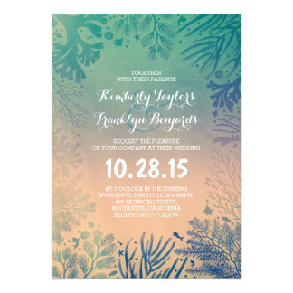 Beach Underwater Ocean Blue Corals Wedding Card