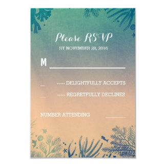 beach underwater teal and blue wedding RSVP Card