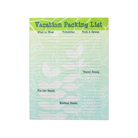 "Beach Vacation Packing List 8.5""x11"" Notepad"
