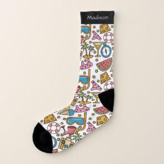 Beach Vacation Pattern custom name socks