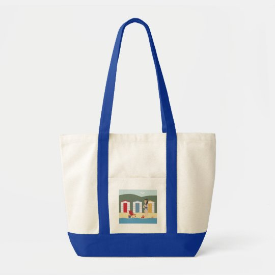 BEACH VACATION TOTE BAG.  GIRL AT THE BEACH