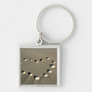 Beach valentine products Silver-Colored square keychain