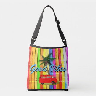 Beach Van Surf Board Palm Rainbow Good Vibes Tote
