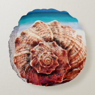 Beach Vibes Ocean Sea Shell  Waves Sand Round Pillow
