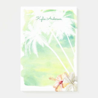 Beach Vibes Palm Trees Watercolor | Personalized Post-it® Notes