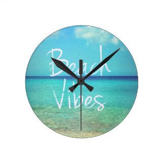 Beach vibes round clock