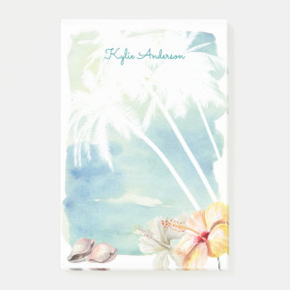 Beach Vibes Tropical Watercolor | Personalized Post-it® Notes