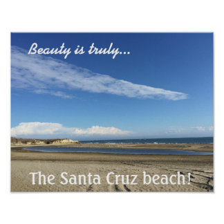 Beach view at the Santa Cruz Boardwalk Poster