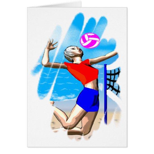 Beach Volleyball Girl Greeting Card