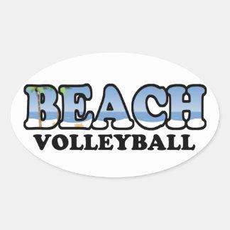Beach Volleyball Oval Sticker