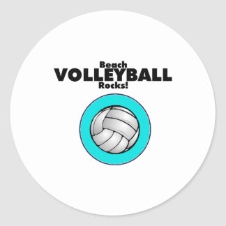 Beach Volleyball Rocks Classic Round Sticker