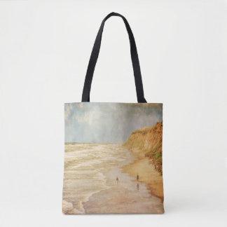 Beach walk by the ocean vintage looking tote bag