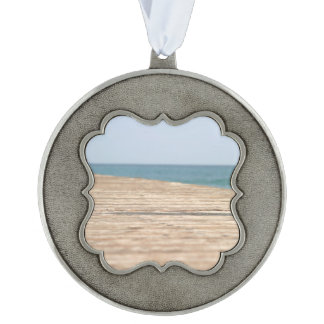 Beach Walk Scalloped Pewter Ornament