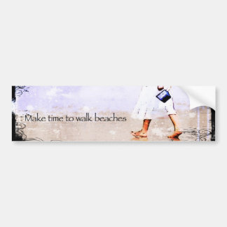 Beach Walking Bumper Sticker