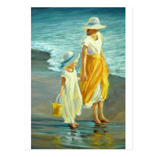Beach Walking With Mom Postcard