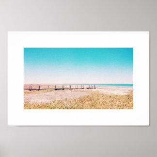 Beach Walkway Pastel Blue Pink Landscape Poster