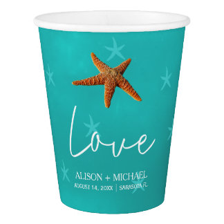Beach water aqua blue your names starfish wedding paper cup