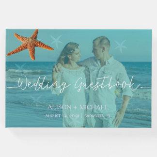 Beach water blue turquoise starfish wedding photo guest book