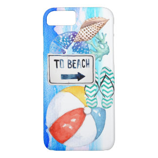 Beach Watercolor Elements iPhone 7 Case
