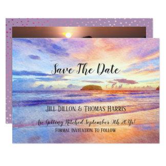 Beach Watercolor Sunrise Save The Date Photo Card