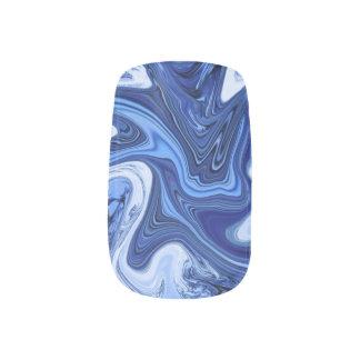 Beach watercolor swirls aqua blue white marble minx nail art