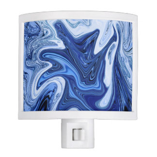 Beach watercolor swirls aqua blue white marble nite lights