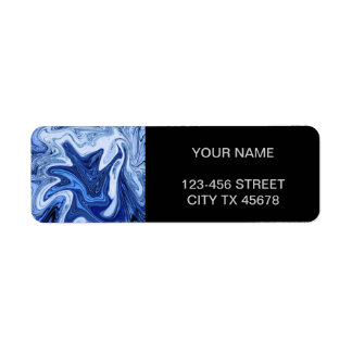 Beach watercolor swirls aqua blue white marble return address label