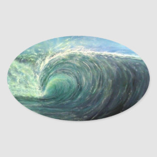 beach wave,green room,rip curl oval sticker