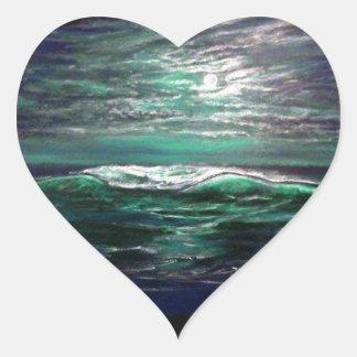 beach wave moonlight heart sticker