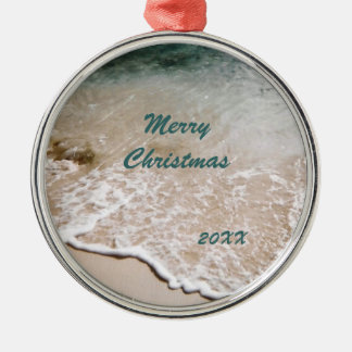 Beach Wavelet Dated Metal Ornament