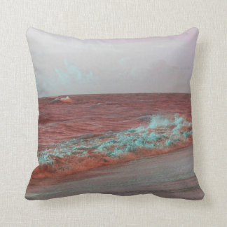 beach waves red teal florida seashore background throw pillow