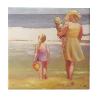 Beach Waves with Children and Mom Tile