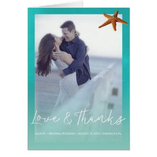 Beach wedding aqua blue starfish thank you photo card