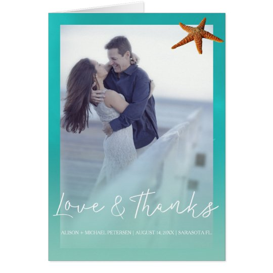 Beach wedding aqua blue starfish thank you photo card