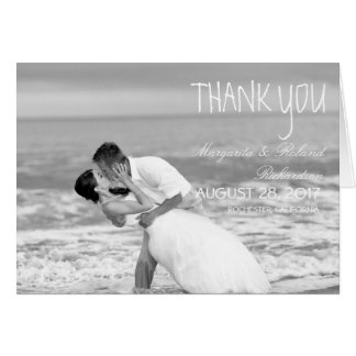 Beach wedding black and white kiss/Thank You Card