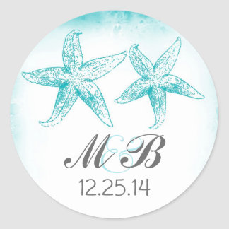 beach wedding blue starfish monogram seal