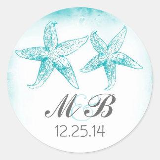 beach wedding blue starfish monogram seal round sticker