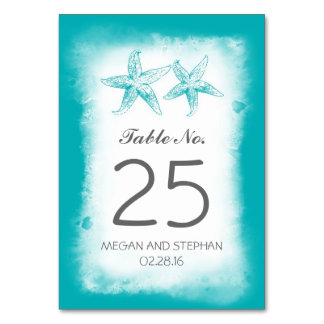 Beach Wedding Blue Table Number Cards Place Cards Table Cards