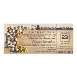 "beach wedding boarding pass tickets save the date 4"" x 9.25"" invitation card"