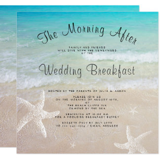 Beach Wedding Breakfast Square Invitations
