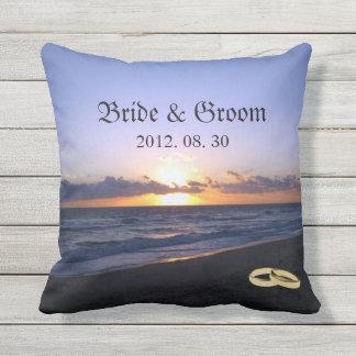 Beach Wedding Bride & Groom Keepsake Personalized Throw Pillow