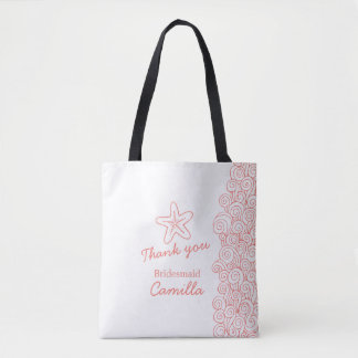Beach wedding bridesmaid customized favor tote