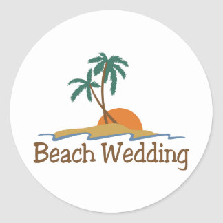 Beach Wedding Classic Round Sticker