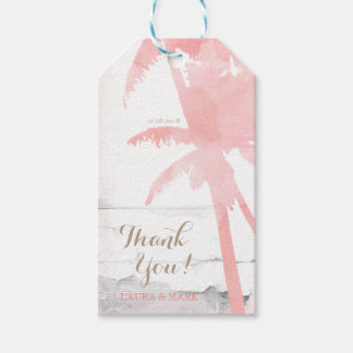Beach Wedding Coral Palm Trees Wood Watercolor Gift Tags