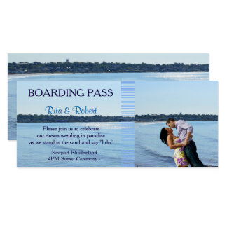 Beach Wedding | Couples Boarding Pass Ticket- Card