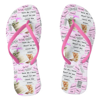 Beach Wedding Flip Flops Pink & White