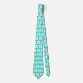Beach Wedding Flower Pattern Turquoise Blue Tie